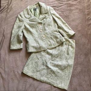 ANN TAYLOR Skirt Blazer Suit Set Green Tweed